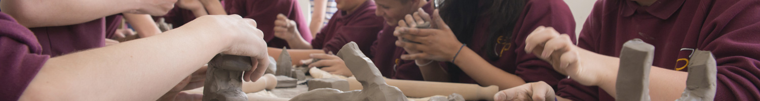 Children working with clay